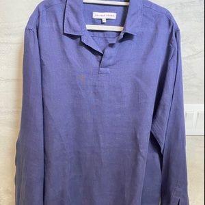 Orlebar Brown Long Sleeve Pullover Linen Shirt